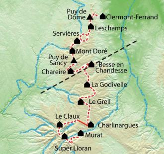 Carte Auvergne Le Parc des Volcans du Puy de Dôme au Cantal