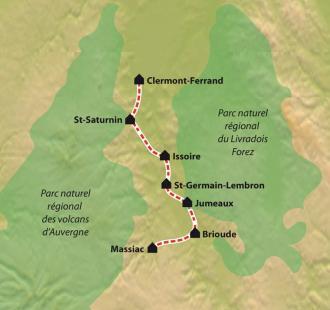 Carte Chemin de Compostelle : La Via Arverna, Clermont-Ferrand - Massiac