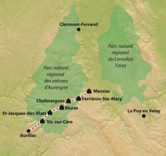 Carte Chemin de Compostelle : La Via Arverna, Massiac - Vic-sur-Cère