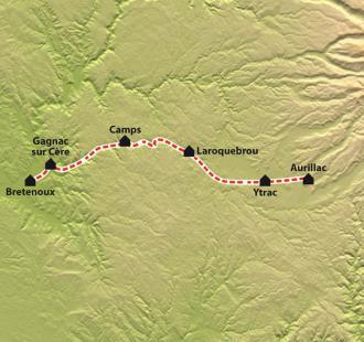 Carte Chemin de Compostelle : La Via Arverna, Vic-sur-Cère - Bretenoux