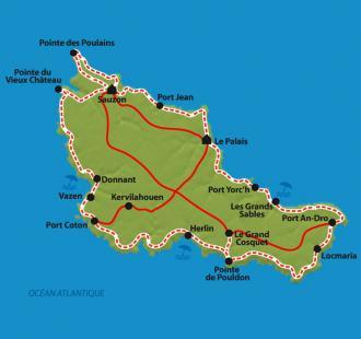 Carte Belle-Ile-en-Mer en liberté