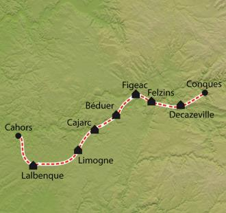 Carte Chemin de Compostelle, Conques - Cahors à petits pas