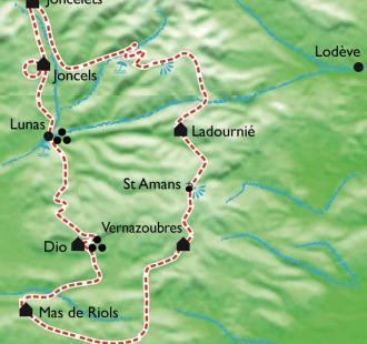 Carte Les Cévennes du Sud avec des ânes