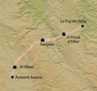 Carte Chemin de Compostelle, Le Puy - Aumont-Aubrac