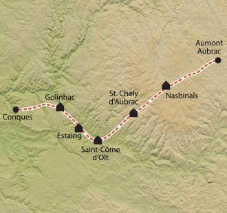 Carte Chemin de Compostelle, Aumont-Aubrac - Conques