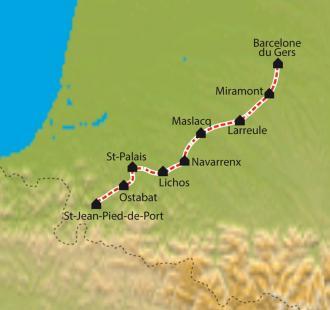 Carte Chemin de Compostelle, Aire sur Adour - Saint Jean Pied de Port