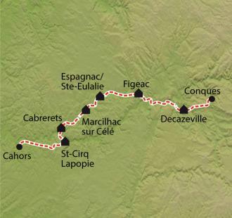 Carte Chemin de Compostelle, Conques - Cahors par la Vallée du Celé