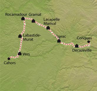 Carte Chemin de Compostelle, Conques - Cahors par Rocamadour