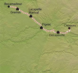 Carte Chemin de Compostelle, Conques - Rocamadour