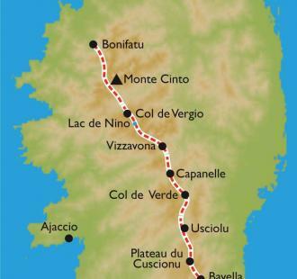 Carte Corse, GR20 SUD et NORD