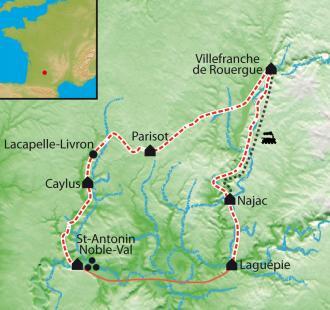 Carte Cités Médiévales en Quercy - Rouergue