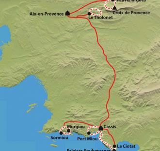 Carte Provence des  Calanques de Cassis aux massif de la Sainte Baume