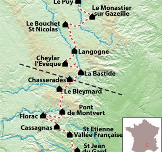 Carte Chemin de Stevenson du Puy en Velay à Saint Jean du Gard