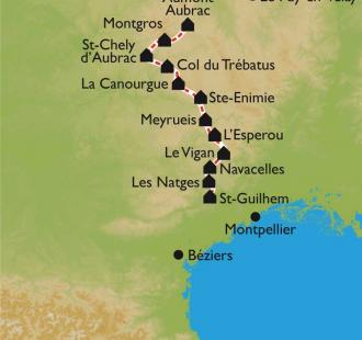 Carte Le Chemin de Saint Guilhem le Désert entre Aubrac et Méditerrannée en 13 jours