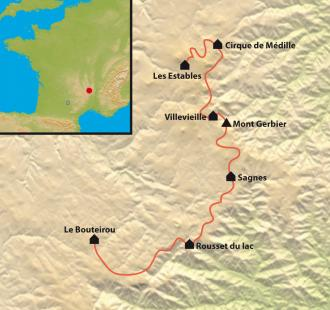 Carte La ligne de partage des eaux des monts d'Ardèche