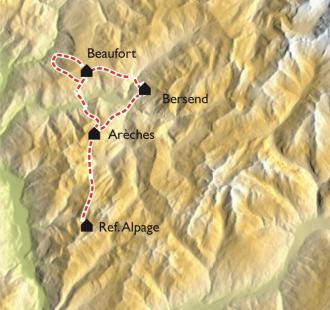 Carte Un tour dans le Beaufortain en raquettes