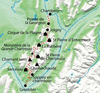 Carte Tour du Parc de la Chartreuse en raquettes
