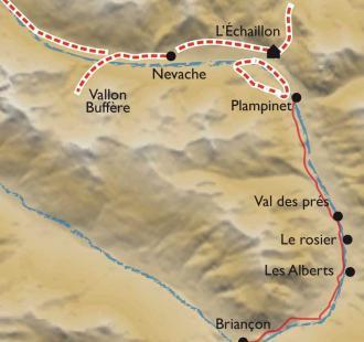 Carte Raquettes et Bien-être en vallée de la Clarée