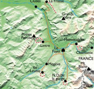 Carte Raquettes Balnéo, au pays du Mont Blanc