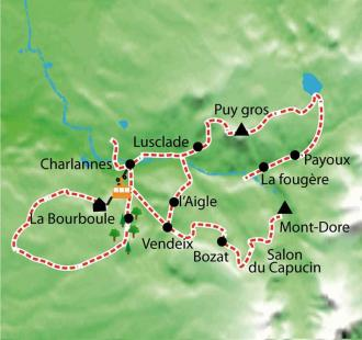 Carte Le Sancy en Auvergne, raquette et bien-être