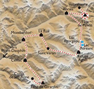 Carte Traversée du Queyras en ski de rando