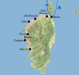 Carte Corse, la côte ouest en vélo électrique