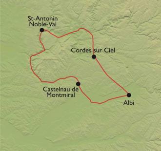 Carte Albi et les Bastides Albigeoises à vélo de route