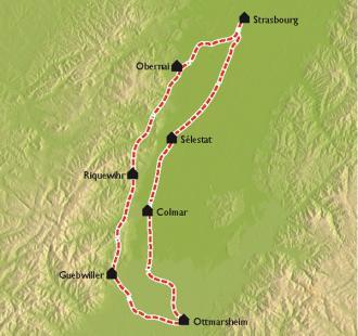 Carte Alsace, par Vignes et Villages à vélo.