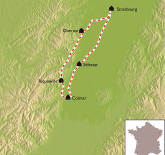 Carte Les charmes de l'Alsace à vélo.