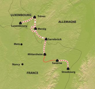 Carte Strasbourg - Luxembourg à vélo