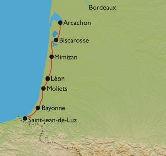 Carte Vélodyssée d'Arcachon à Hendaye, cap vers le Pays Basque