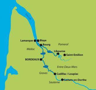 Carte La route des Vins de Bordeaux en cyclo-croisière
