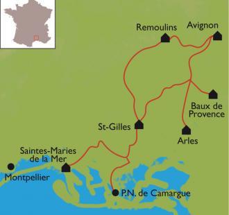 Carte Avignon-Camargue. Du Palais des Papes à la Camargue en vélo