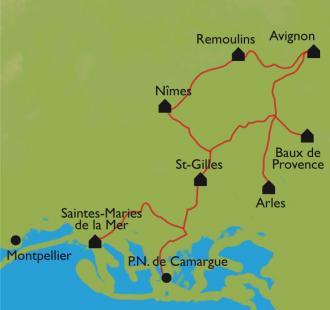 Carte Avignon-Camargue en vélo en formule accompagnée