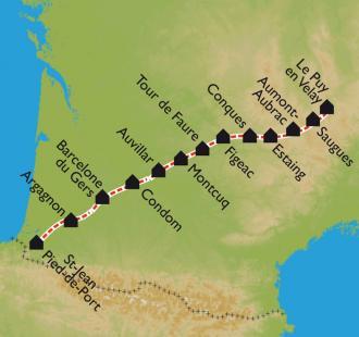 Carte Compostelle, du Puy en Velay à Saint Jean Pied de Port à vélo