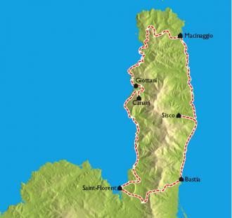 Carte Le Cap Corse et ses tours Génoises à vélo