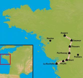 Carte La Vélo Francette, d'Angers à La Rochelle