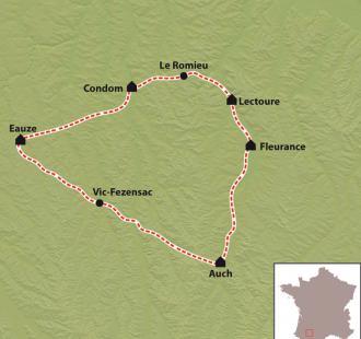 Carte Gers et Bastides d'Armagnac en vélo électrique