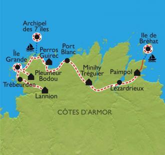 Carte La Côte de Granit Rose et l'île de Bréhat à vélo
