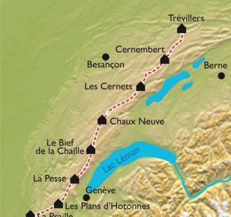 Carte La grande traversée du Jura à VTT
