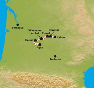Carte Cahors, entre Lot... et Garonne.
