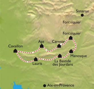 Carte Le Tour du Lubéron à vélo en formule accompagné