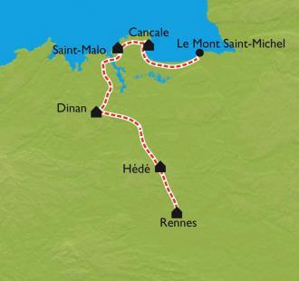 Carte De Rennes au Mont Saint-Michel à vélo