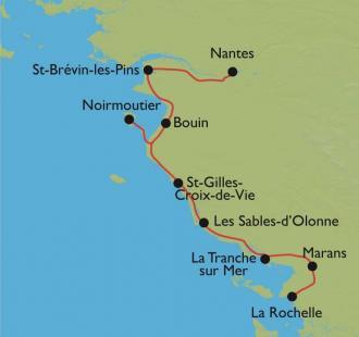 Carte Vélodyssée de Nantes à La Rochelle