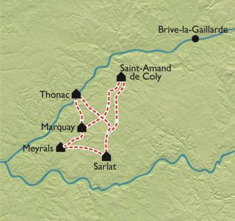 Carte Le Tour intégral du Périgord Noir à VTT