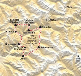 Carte Le Tour du Queyras VTT en liberté