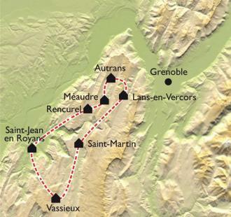 Carte Le Grand Tour du Vercors VTT