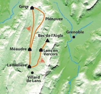 Carte Douces vallées du Vercors en famille