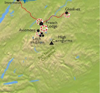 Carte Ecosse, le Parc National de Cairngorms à VTT