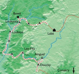 Carte Fouta Djalon, berceau des grands fleuves africains